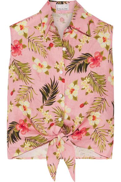 Miguelina - Nelline Printed Linen Top - Baby pink - x small