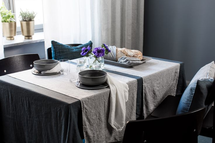 Sunshine is finely woven, attractive pure linen, garment washed for a soft, pleasant feel. Gives a relaxed impression and is easy to keep  #Himla_ab #Sunshine #table #dining #tablelinen