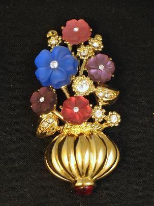 Incredible Satin Glass and Rhinestone Trifari Flower Basket