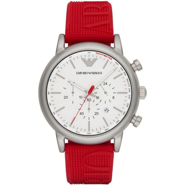 Emporio Armani Watch ($235) ❤ liked on Polyvore featuring men's fashion, men's jewelry, men's watches, red, mens red watches, stainless steel mens watches and emporio armani mens watches