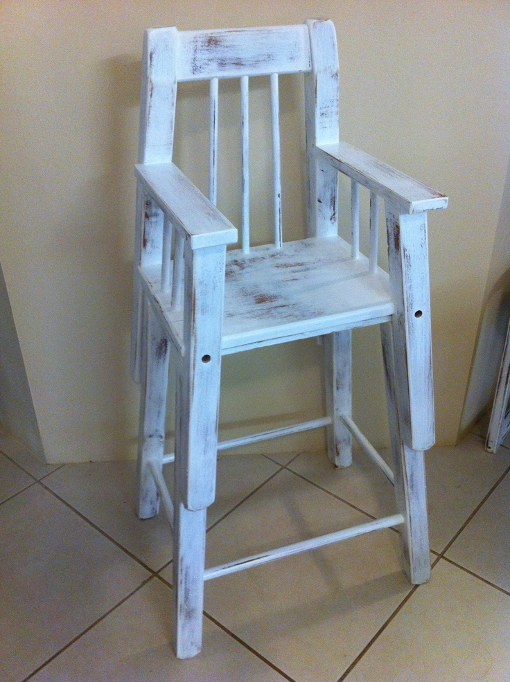 Vintage White Highchair. Splits in two to become a short toddler chair & taller stool.