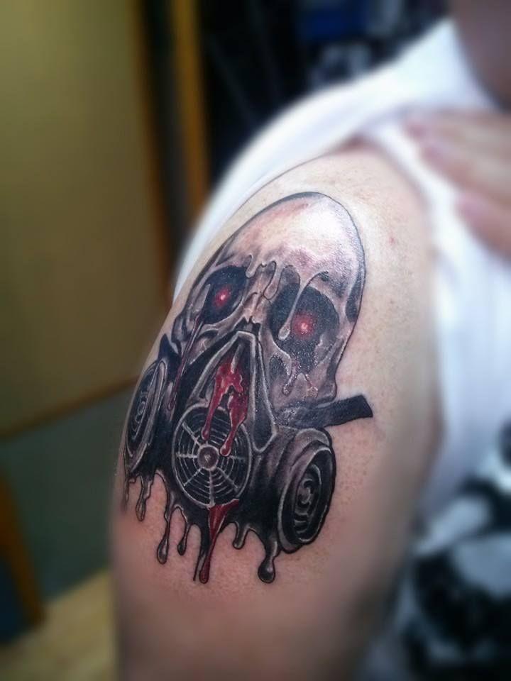 """Gas mask by Steven """"Phoenix"""" Kish at Skyline Tattoo Studio in Little Falls, MN https://www.facebook.com/steven.kish1"""