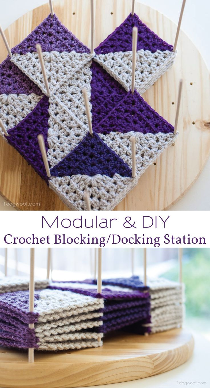 A versatile and modular crochet blocking station. Block or dock your granny squares in any combination you want! | www.1dogwoof.com