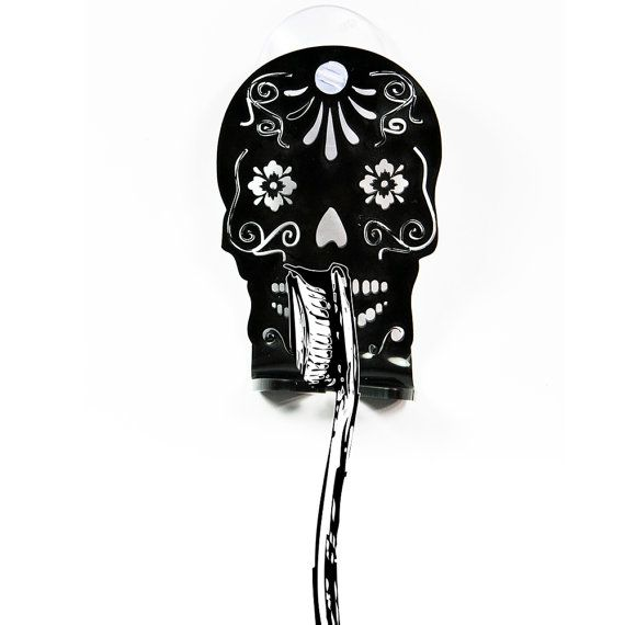 Skull toothbrush holder stand With silicone vacuum for home bathroom. Unique gift for him gift for her with a greeting card. Mustache decor