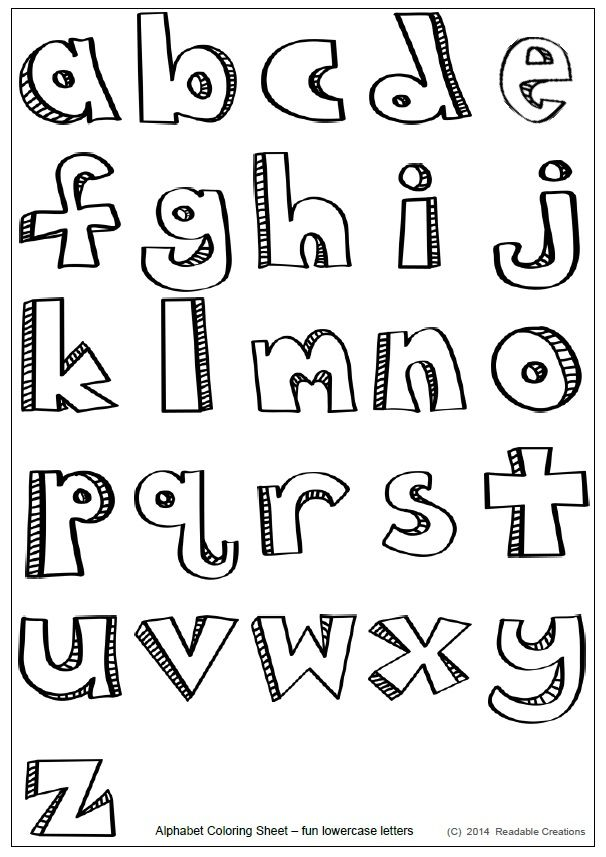 This free alphabet coloring sheet with the stylized lowercase letters  provides fun and creativity for your