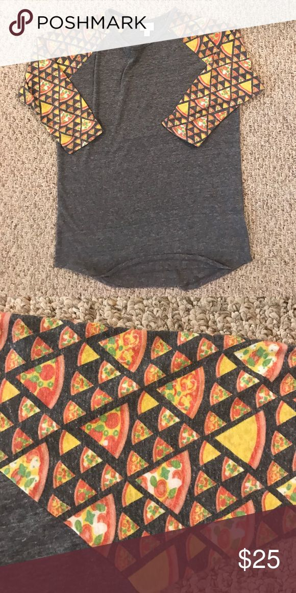 Pizza slice randy LuLaRoe So soft! This randy is amazing with pizza slices on the sleeves! LuLaRoe Tops
