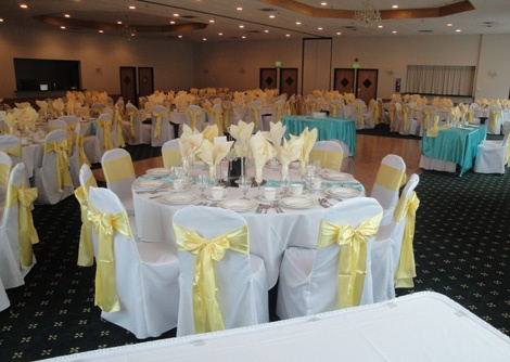 Yellow turquoise and teal wedding colors linens