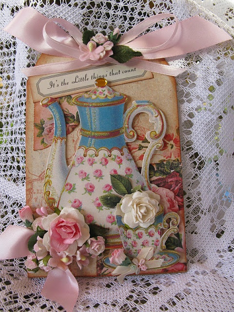 Martica Designs: Tags; image cut from a greeting card, good way to recycle old cards