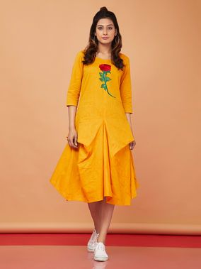 bb1f0df4ce09 Mustard Yellow Hand Embroidered Cotton Cowl Dress