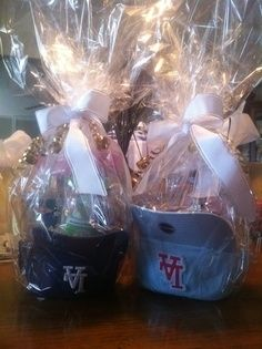 DIY Easter basket with baseball hats.. nice gifts for sport lovers!!!  This was an Easter Tradition at my house!!  Usually Braves or Hawkeye hats.