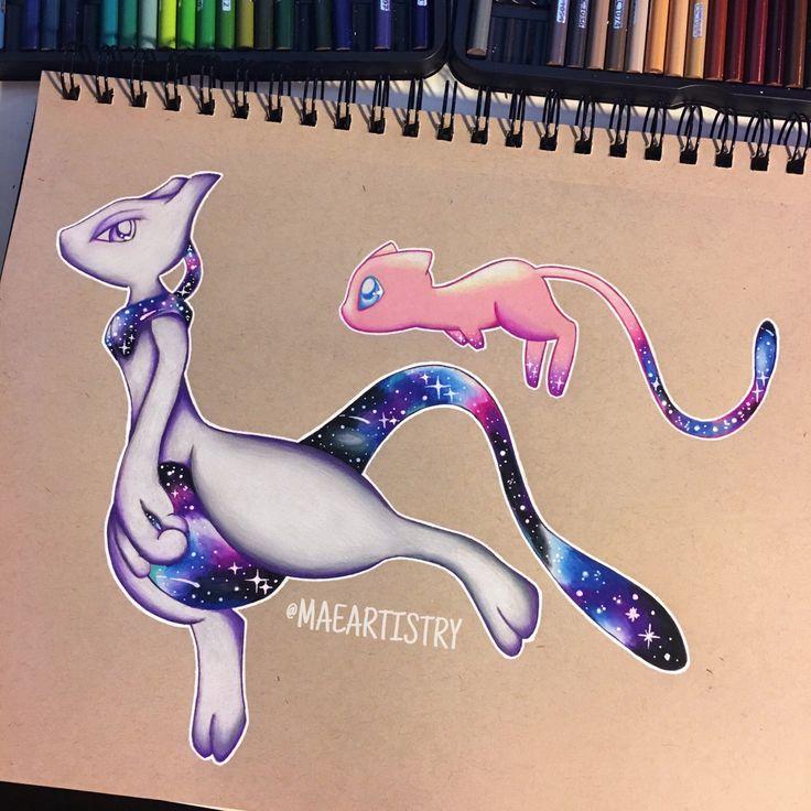 Mew & Mewtwo Galaxy  ________ ‣ instagram.com/maeartistry