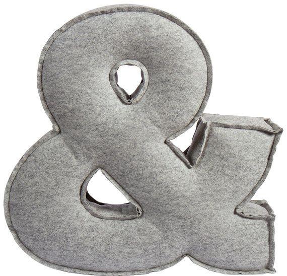 Ampersand pillow: Pillows Grey, Ampersand Cushions, Ampersand Felt, Felt Letters Pillows, Pillows Cut, Felt Pillows, Ampersand Pillows, Cut Outs, Pillows Felt