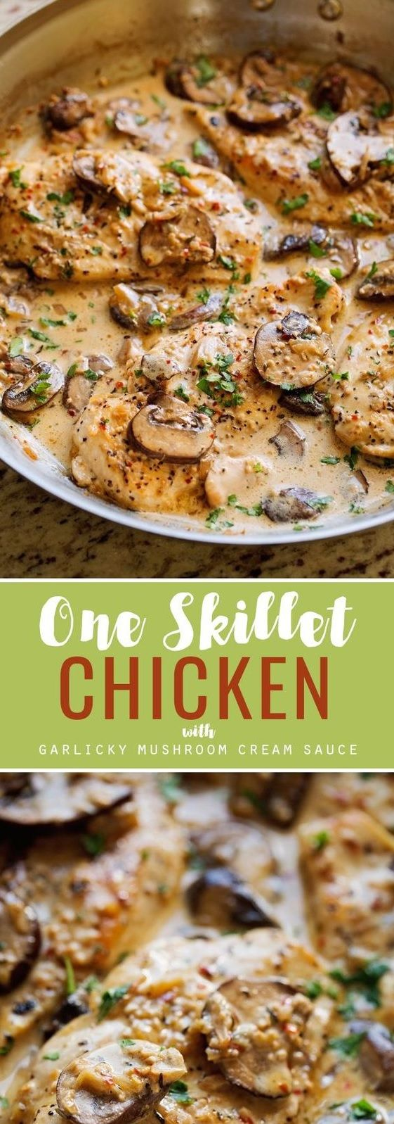 ONE SKILLET CHICKEN WITH GARLICKY MUSHROOM CREAM SAUCE | Good Recipes