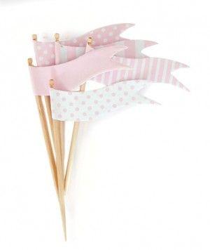 pink cupcake flags