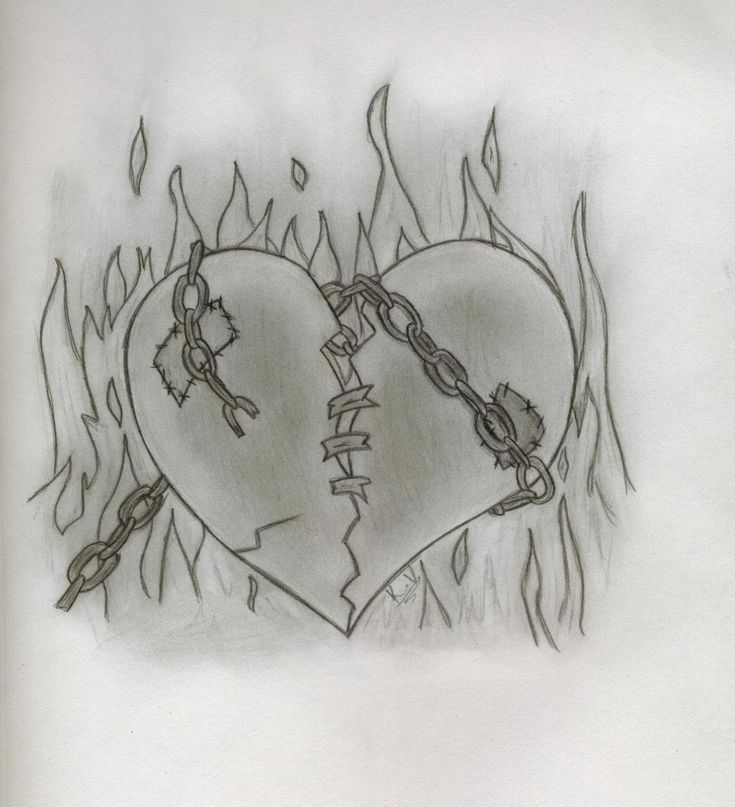Heart In Chains Drawings Heart Drawing Fire Drawing