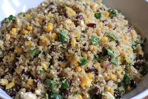 Quinoa recipe: 2 c Quinoa, 4 c chicken stock, 4oz Feta crumbles,