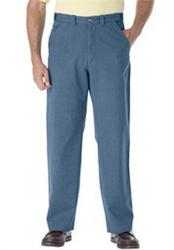 Men s Big & Tall 5-Pocket Plain Front Chino Pants 40  Insea UN-HEMMED Slate Blue