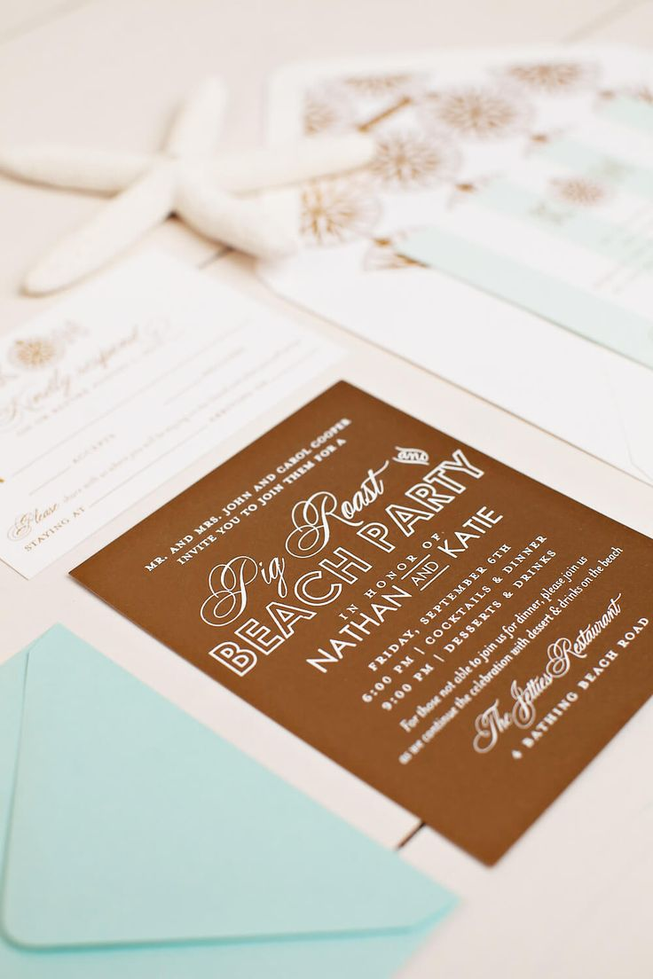 custom wedding invitations nashville%0A Beach Party Wedding Invitation
