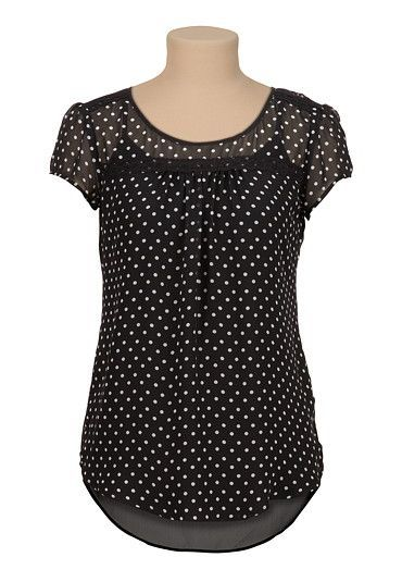 high-low chiffon dot print blouse with lace