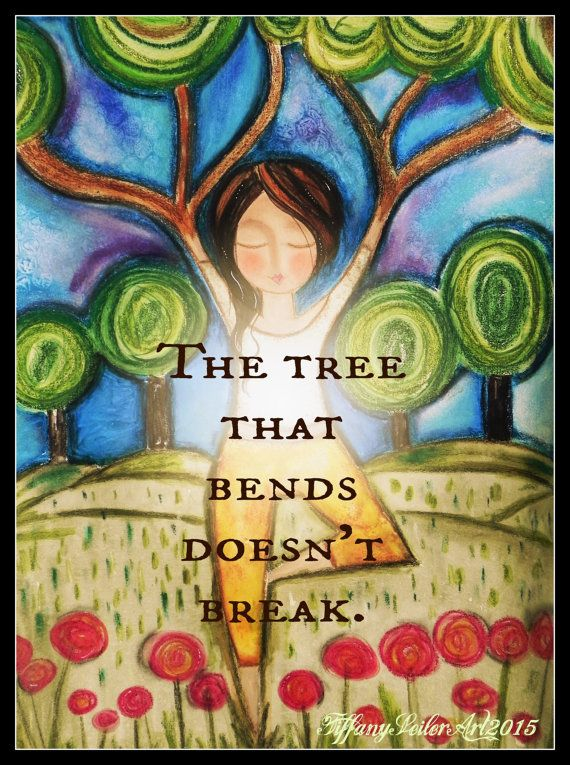 TREE pose yoga ART 5x7 art card. by Southendgirlart on Etsy