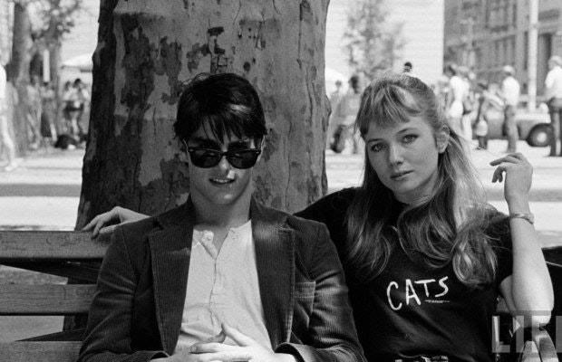 """Tom Cruise and Rebecca De Mornay relaxing on the set of """"Risky Business"""" (1983)."""
