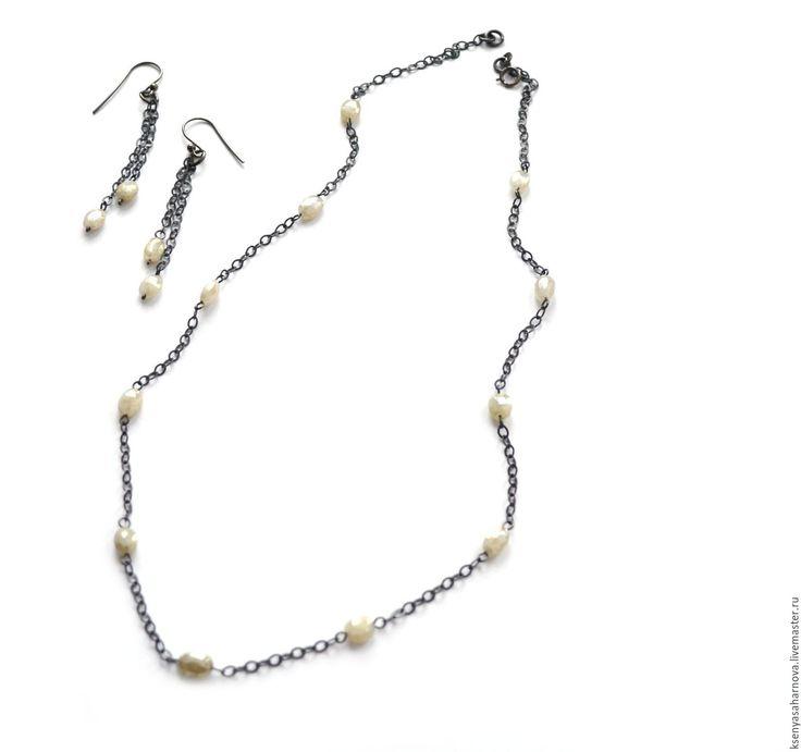 Купить Колье и серьги Белый сапфир в черном (серебро 925 с чернением) - серебряные украшения