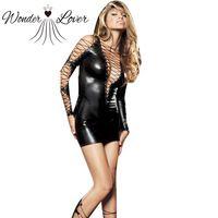 New Arrival Latex Costume Faux Leather Mini Party Dress Vinyl PVC Clubwear Sexy Latex Nightdress  W1116
