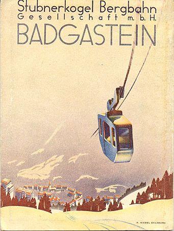 """vintage ski poster - Badgastein - Hofgastein,"""" circa 1936"""