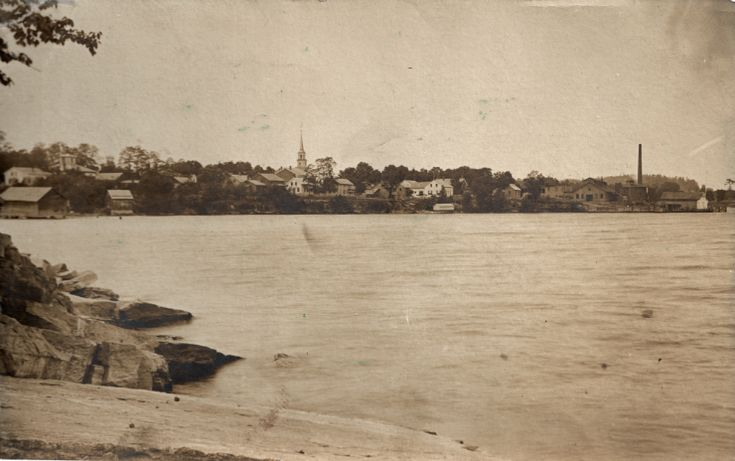 Essex, NY waterfront with nail factory (pre-1918)