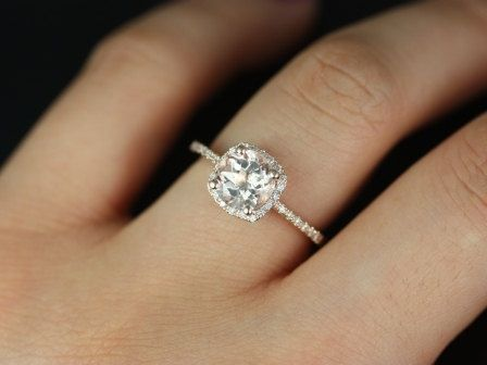 Rose gold. Paved setting. Cushion cut. Halo. Love the rose gold, but I would prefer white gold. Otherwise, this ring is perfect