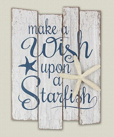 $18.99 marked down from $30! Wood 'Make a Wish' Wall Sign #starfish #nautical #zulilyfinds