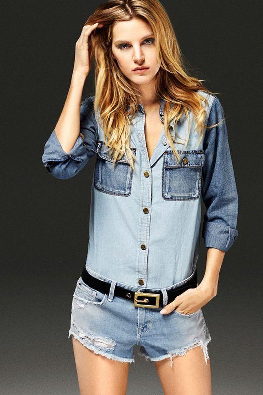 Tendência Jeanswear para o verão 2016 - D-ID: camisa com diferentes tonalidades do jeans.