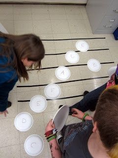 Reinforcing treble clef and staff with paper plate matching game, can create relays to spell words using the treble clef.