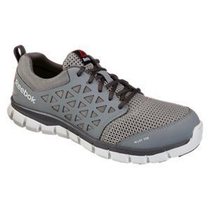 Reebok Sublite Alloy Toe Athletic Oxford Work Shoes for Men - Grey - 10.5W #ShoesForMen