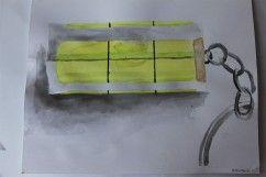 Anylinkama namalovaná obyčejná vodováha na klíče
