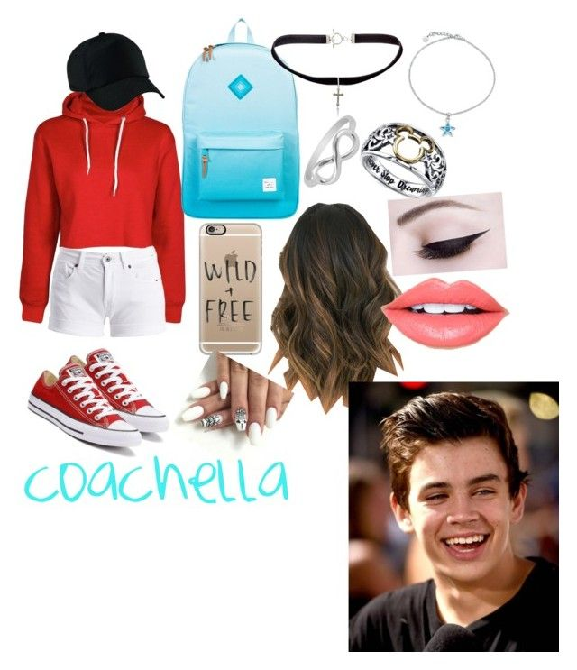 """""""coachella date with hayes grier"""" by bettyboop2001 on Polyvore featuring Barbour International, Converse, Herschel Supply Co., Yves Saint Laurent, Jewel Exclusive, Casetify, Disney, Fiebiger and Bling Jewelry"""