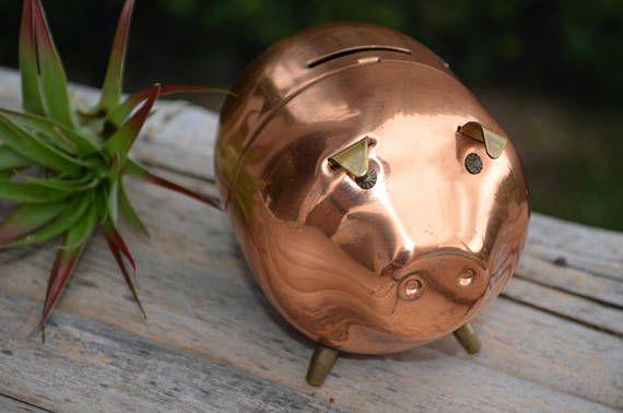 Vintage Copper piggy bank pig farmhouse decor rustic