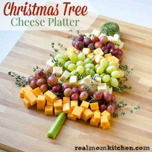 Christmas Tree Cheese Platter labeled More