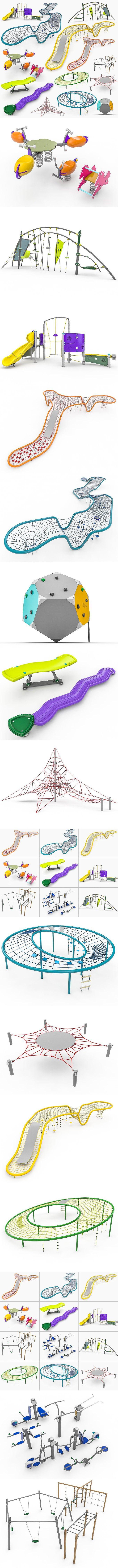 Kompan Playground Equipment Set. 3D Architecture