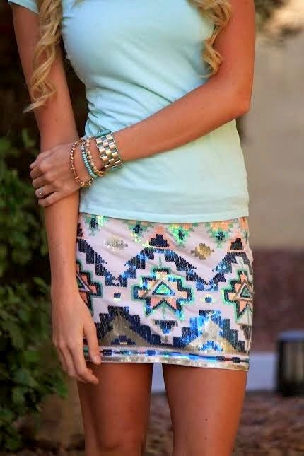 Tribal Print Shorts With Mint Blouse