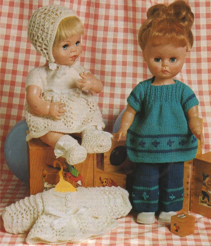 Dolls Clothes PDF Knitting Pattern : 14 inch Doll and 12 ...