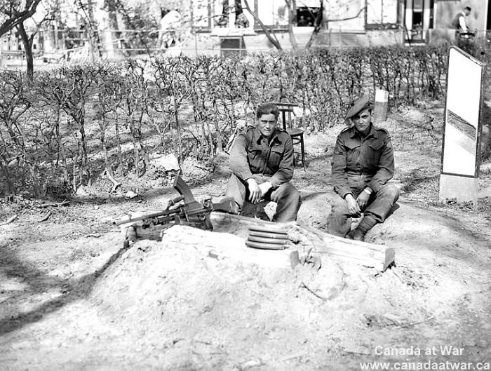 The Netherlands - Members of the 1 Cdn Division after the liberation of Apeldoorn, Holland. 17 Apr. 1945.