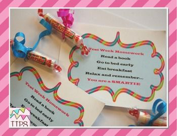 Free Smartie Test Week Homework Pass | Candy Sayings ... Smarties Test
