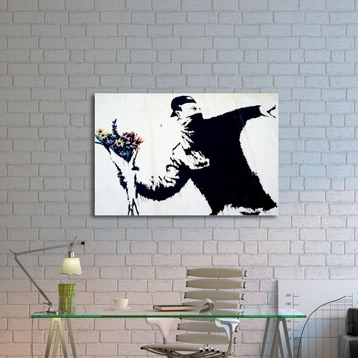 'Flower Thrower' by Banksy Painting Print on Wrapped Canvas