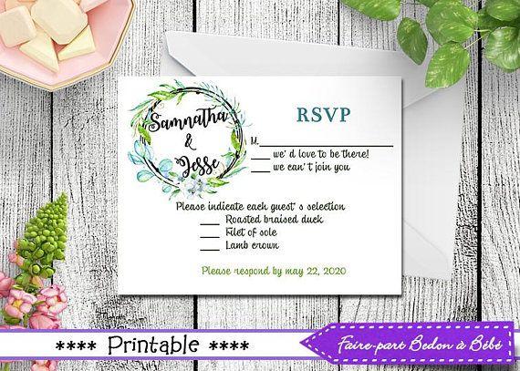 Wedding RSVP - printable wedding - RSVP cards - RSVP - wedding - rsvp wedding - wedding stationnery - invitation rsvp - wedding card