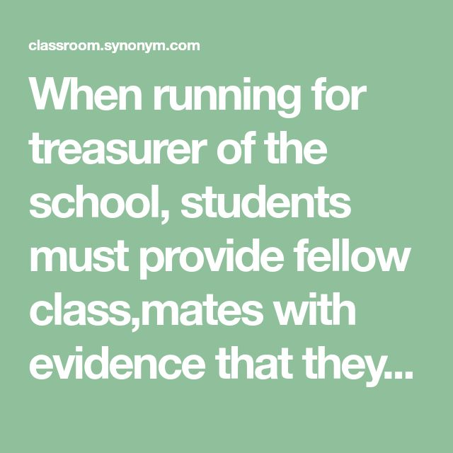 speech for running treasurer essay Student council speeches for different events: get several speech options, including for those exiting student council as well as those running for the first time below is an example of a funny student council speech.