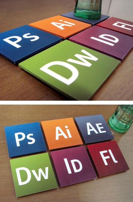A set of six coasters for designers. It is called the Designer Set; the coasters are actually the icons for the famous Adobe software which includes Photoshop, Dreamweaver, After Effects, InDesign, etc.