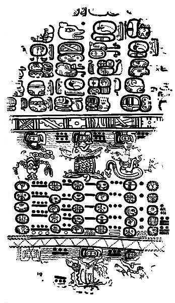 A page from the Paris Codex, one of the few known surviving Mayan books in existence, shows the Mayan writing system in use.