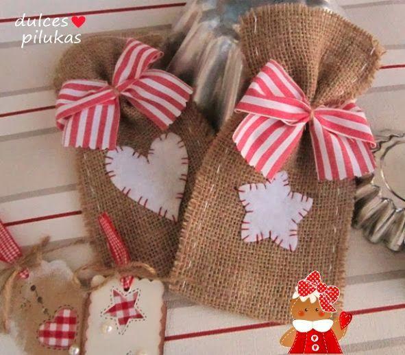 Dulces pilukas bolsas regalo con tela de saco un - Tela de saco ...