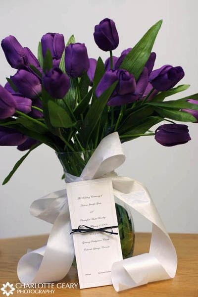 purple tulips centerpiece
